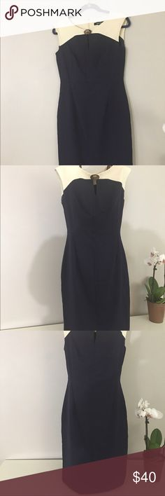 Ellen Tracy Navy and Cream sheath dress This Navy and Cream sheath dress is simple, chic and understated. Adorably simple gold accent completes this classic look. Ellen Tracy Dresses