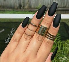 nice Black Matte Squoval Acrylic Nails...