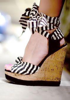 Stripe Ankle Tie Wedges // cute, striped wedges