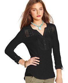 Lucky Brand Jeans Top, Long-Sleeve Split-Neck Lace - Tops - Women - Macy's