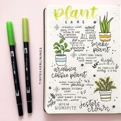 Bullet Journal Plant Doodle Cute and handy plant care spread for your Bullet Journal! Bullet Journal Ideas Pages, Bullet Journal Inspiration, Journal Pages, Journal Prompts, Bullet Journals, Snake Plant Care, Garden Journal, Book Of Shadows, Garden Planning