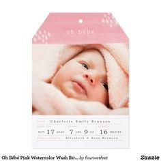 Oh Bébé Pink Watercolor Wash Birth Announcement