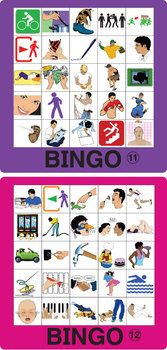 ESL VERB BINGO 1 - All the verbs you need in one game! The variations are endless!  This pdf file includes 12 Verb Bingo game boards with 50 images in the set. Also included are larger images for use as draw cards.  TeachersPayTeachers.com