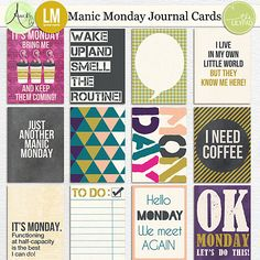 Manic Monday journal cards by Lynne-Marie and Amy Wolff - everything but the coffee stuff