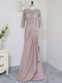 Plus Size Brown Mother Of The Bride Dresses A-line Sleeves Chiffon Lace Wedding Party Dress Mother Dresses For Wedding Hijab Gown, Hijab Dress Party, Turban Hijab, Kebaya Dress, Dress Pesta, Kebaya Lace, Kebaya Hijab, Kebaya Brokat, Mother Of The Bride Dresses Long