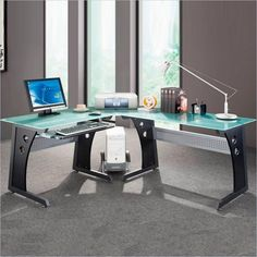 Interesting. Maybe I don't go the wood route ... Techni Mobili L-Shape Frosted Glass Metal Base Computer Desk in Graphite