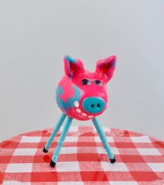 Items similar to Mini Smiling Clay Electric Pig Pink and Blue Marbled with Blue Legs on Etsy Clay Electric, Dancing In The Moonlight, Keepsake Boxes, Pyrography, Piggy Bank, Hand Painted, Smile, Legs