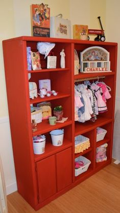 Another Refurbished and custom painted #wood entertainment center used for infant or children wardrobe, shelves or  for new baby's room. #kids #furniture