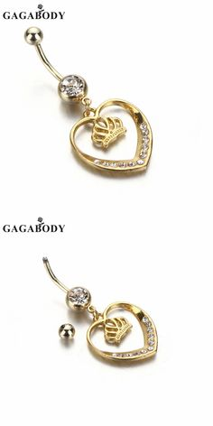 Valentine's Day 1PC Piercing Wholesale 14G Gold-plated Heart Dangle Belly Button Ring Body Jewelry Piercing Ring