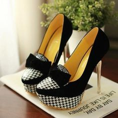 Black and White Bow Heels