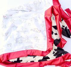 Vintage Farm Animal Faux Cow Fur Baby Blanket Instagram: @loveandlullabies