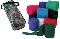 """Fleece Polo Wraps With Laundry Bag . $13.99. From American Heritage Equine! Heavy 420 gram polyester fleece polo wraps that feature extra-long reinforced hook and loop closure. Great support for training or shipping, these wraps are machine-washable and come in 10 great colors to choose from! Measure 5"""" wide X 118"""" long. Set of four. Includes mesh laundry bag. Choose Red, Royal Blue, Hot Pink, Black, Purple, Navy, Dark Green, Green, Turquoise, or White."""