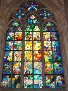 Alfonse Mucha's Stained Glass in St. Vitus's Cathedral. While not religious, this is a beautiful window