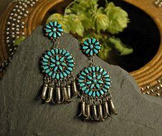 Native American jewelry - turquoise needlepoint earrings
