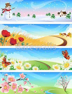 Four seasons vector image on VectorStock Vector Graphics, Vector Art, Four Seasons Art, Winter Springs, Winter Landscape, Green Landscape, Christmas Design, Autumn Trees, Autumn Summer