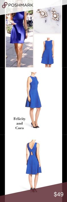 """Fab Fit & Flare by Felicity & Coco NWT 1st pic for styling only. Cool Cobalt Blue Ponte Fit & Flare dress by Felicity & Coco made of stretchy yet structured material, has a trendy low back cut out. Side zip closure, partially lined. Approx. 37"""" long."""" Felicity & Company  Dresses"""