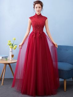Delicate Sequined Maxi Qipao / Cheongsam with Tulle Skirt