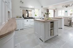 Neptune Chichester Kitchen Wood worktop instead of granite? Open Plan Kitchen, Country Kitchen, Kitchen Living, New Kitchen, Kitchen Ideas, Kitchen Flooring, Stone Flooring, White Kitchen Floor Tiles, Wood Floor Tiles