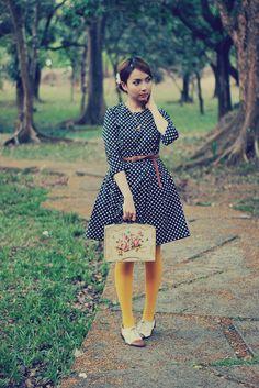 Mustard Tights and a Polka Dot Dress