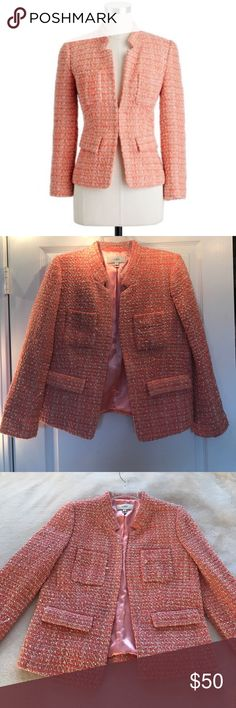 J. Crew Coral Tweed Blazer, Size 8 Absolutely gorgeous J. Crew coral metallic tweed blazer! Would keep but only worn once and need to clean out closet. In great condition from smoke and pet-free home. Beautiful, professional accent piece! J. Crew Jackets & Coats Blazers