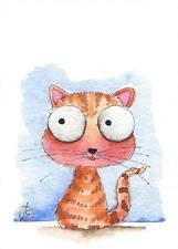 ACEO Original watercolor painting whimsical cat art kitten baby Joey