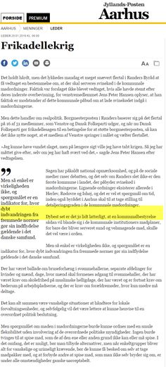 Hele 11 aviser behandlede frikadellekrigen i leder spalte - her fra JP Aarhus