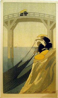Fishermen::Bertha Lum. 1912 http://www.pinterest.com/trickymag/printmaking/