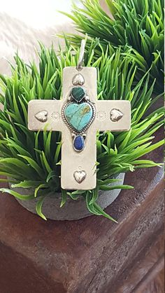 Sterling & Gemstone Cross Mexico~Large Cross Pendant~Sterling Silver 925 Turquoise Lapis Malachite~Vintage Artisan Cross~by JewelsandMetals.