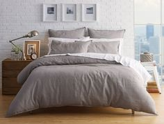 Woven using the finest French flax, our Milano linen quilt cover is pre-washed giving it a beautiful softness and relaxed, lived in look. The Milano Silver linen quilt cover will continue to soften with age, making it a favourite for years to come.