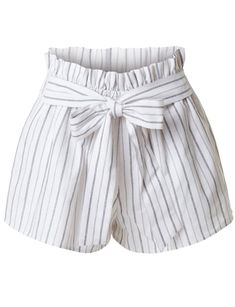 High Waisted Belted Ruffle Striped Shorts with Ribbon Tie Closure - Women Shorts Cute Casual Outfits, Short Outfits, Outfits For Teens, Pretty Outfits, Summer Outfits, Shorts Outfits Women, Girl Outfits, Fashion Outfits, Fashion Shorts