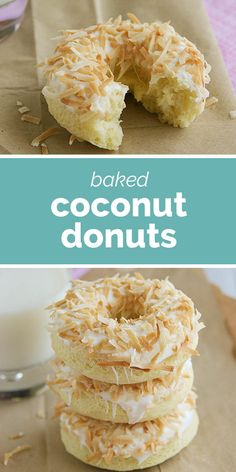 These Baked Coconut Donuts are for coconut lovers! A baked coconut donut is topped with coconut icing and toasted coconut. Healthy Doughnuts, Baked Doughnut Recipes, Baked Doughnuts, Delicious Donuts, Delicious Desserts, Yummy Food, Donut Maker Recipes, Coconut Recipes, Baking Recipes