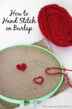 Hand stitch on burlap? I'll give it a shot.