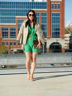 Green silk dress, short trench, leopard clutch, nude heels