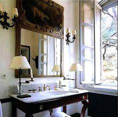 guest bathroom, love all - window, mirror, scones & lamps, sink...