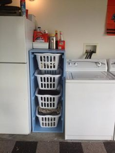 Hmmm....  I could see this also as root cellar type storage out in the garage...  (and bonus, laundry baskets are easy to hose out if something goes bad!)