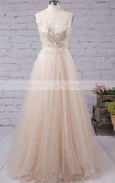 Nude A Line V Neck Floor Length Sleeveless Appliques Lace Sequins Tulle Long Prom Dress