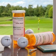 I'm going to make these for Scott's 50th birthday golf tournament.  I'll make a custom label: Divot Drugstore PAR-scription for 'enhanced performance'. Walgreens sells plain bottles for 10 cents each & I'll fill with candy for their golf bags with custom water bottle labels.
