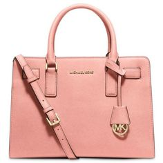 Michael Michael Kors Pale Pink Dillon Small Saffiano Leather Satchel ($298) ❤ liked on Polyvore featuring bags, handbags, pale pink, pale pink purse, michael michael kors handbags, michael michael kors, satchel purse and red satchel handbags