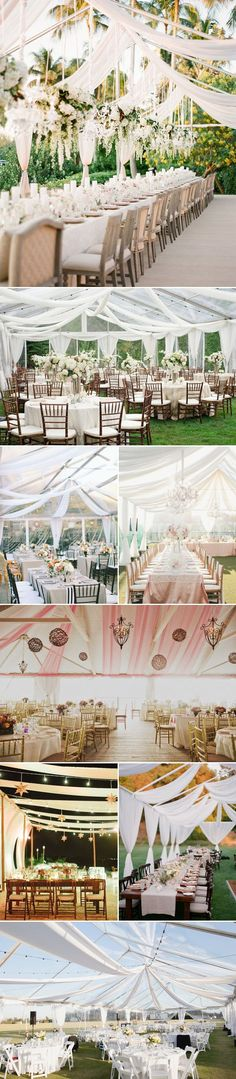 Do you think that a tent is only necessary for an outdoor event or wedding to protect against the weather? Think again! As these pictures prove, tents are as important a part of your wedding decor as the linens and flowers. All of the tents in these pictures appear to be frame tents, but you can get just as creative with pole tents as well. These are just beautiful! Pic source: http://www.praisewedding.com/archives/4317
