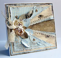 Dorota_mk: DT Riddersholm Design--love this interesting design Mini Album Scrapbook, Scrapbook Cards, Cool Cards, Diy Cards, Tarjetas Diy, Pot A Crayon, Shabby Chic Cards, Beautiful Handmade Cards, Pretty Cards