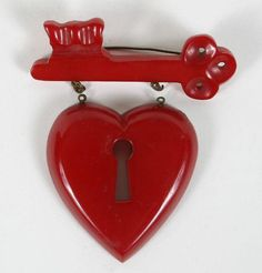 LG Cherry Red Bakelite Heart Lock Key Brooch& Pieces are unattached; right side missing two small chain link rings. No damage on eye hook hardware. Key To My Heart, Heart Art, Under Lock And Key, Valentines Greetings, Sacred Heart, Cherry Red, Heart Jewelry, Vintage Costume Jewelry, Heart Shapes