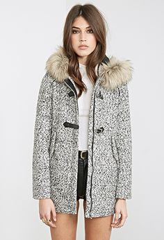 Marled Faux Fur-Hooded Coat | FOREVER21 - 2000120720