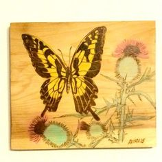 Butterfly and Thistle Wood Burning Wall Art