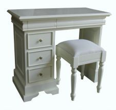 Sleigh style single pedestal dressing table with stool by Lock Stock and Barrel Furniture. Finished in antique white paint. Available from Lock Stock and Barrel Furniture. Antique White Paints, Pedestal Desk, Dressing Table With Stool, Barrel Furniture, Blanket Box, Solid Wood Furniture, Bedroom Furniture, Desks, Favorite Things