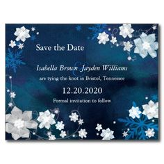 Winter Blue & White Glitter Save the Date Postcard