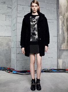 Look 21: MOELLEUX Coat, SERGENT Sweater, JADE Skirt, ATLANTA Boots