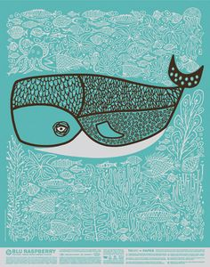 Blu Raspberry French Paper Poster: by CSA design whale illustration Art And Illustration, Illustrations Posters, Omg Posters, Whale Art, Art Plastique, Illustrators, Graphic Art, Art Projects, Artsy