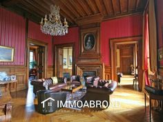 : French chateau for sale in Allier.This magnificent chateau is situated. Villa, Oak Parquet Flooring, Staff Room, Ice Houses, French Property, Attic Spaces, French Chateau, Entrance Gates, Large Bedroom