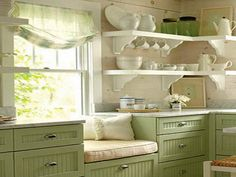 kitchen green and white - Google Search