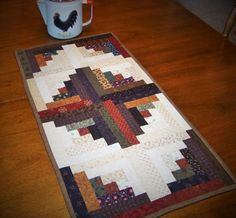 Quilted Table Runner  Log Cabin Table Runner by CountryRoseatHeart